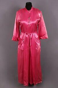 VTG Women's 40s Long Pink Satin Zipper Front Nightgown Sz L 1940s House Dress