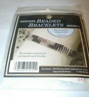 "Mill Hill BLACK PURPLE Designer 9"" Beaded Bracelet CRAFTS JEWELRY MAKING KIT"