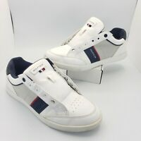 Tommy Hilfiger Mens Athletic Shoes Sneakers Size 9 White/Red/Navy Blue*NO LACES*