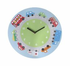 Transport themed wall clock boys bedroom bus car lorry  fire engine decoration