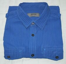 Men's BURTON Blue Pin-Striped Shirt - Long sleeve Size Small, 100% cotton