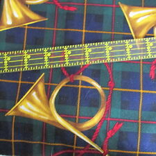 Alexander Henry cotton Christmas Fabric Plaid French HORN half yard cut 1/2
