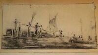 Ecole FRANCAISE XIX DESSIN PIERRE NOIRE PAYSAGE ANIME PORT MARINE PECHEURS 1850