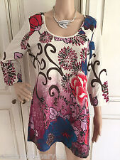 NEW EX MARISOTA BRIGHT RED BLUE PINK BROWN SEQUIN FLORAL PRINT LONG TOP 12 - 24