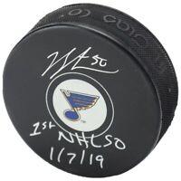 "JORDAN BINNINGTON Autographed St. Louis Blues ""1st NHL SO 1/7/19"" Puck FANATICS"