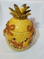 Rare Vintage Los Angeles Pottery Yellow Pineapple Fruit Cookie Jar canister MINT