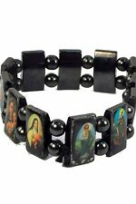 Hematite Magnetic Bracelet with Images of Religious Saints NEW (RC832)