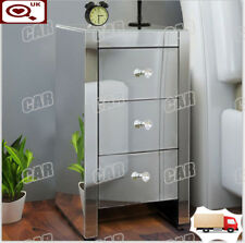 Mirrored Bedside Tables Cabinet 3 Drawers Nightstand Side Table Mirror Bedsides