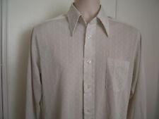 Vtg 70s Beige SEARS KNIT Perma Prest Poly Nylon Textured Dress Shirt Mens 15 1/2