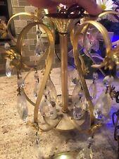 Vintage Gold Metal Chandelier 3 Candles Light with 15 Prisms 1980's