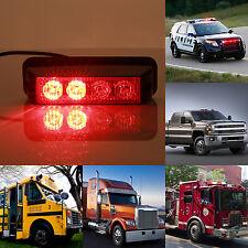 4 LED 4W Emergency Vehicle Side Marker Grille Flash Strobe Light Red US STOCK