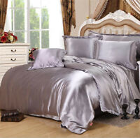 Solid Color Satin Duvet Cover Set Silk Like Bedding Comforter Covers Queen King