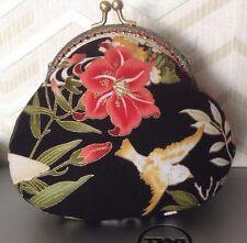 ASIAN ORIENTAL Flowers, Lily & bird MOTIF Handmade Kiss Lock Coin Purse #7
