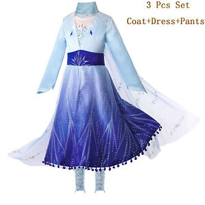 Kids Girl Snow Queen Princess Dress Costume Set Xmas Tulle Lace Fancy Cosplay
