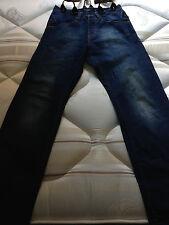Full Circle men indigo blue jean medium denim washed destroyed size 28 braces