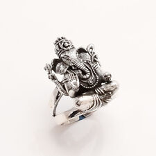 925 Solid Sterling Silver Lord Ganesha Ring Adjustable Unisex Good Luck Jewelry