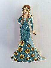 Frozen Anna Designer Sparkly Blue Dress Sunflowers Disney Fantasy LE Pin