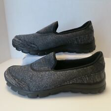 Women's 10M Sport Skechers Black Heather Slip On Memory Foam Sneakers New 22188