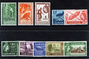 SARAWAK 1955-1957 DEFINITIVES SG188/197 MNH