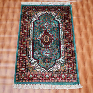 Green Color 2x3 ft Silk Hand-knotted Carpet Area Rug Door Mat Home Decor Rug Mat