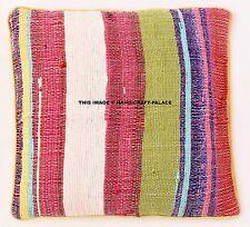 "16"" Yellow Chindi Rag Rug Decorative Pillow Cushion Throw Cover Boho Indian sham"