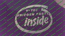 MIGHTY V-TEC UNICORN FARTS INSIDE CAR DECAL STICKER VINYL HONDA CIVIC TYPE R