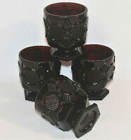 """Lot Of 4 Vtg Avon Cape Cod Ruby Red Glass Low Footed Tumblers 3-1/4"""" 8oz."""