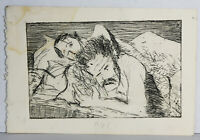 "8"" Vintage Print Etching Jaime Hennon Nude Men Sleeping Gay Interest Wall Art"