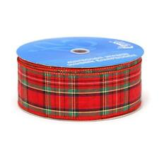 "2.5"" Wired Clarkston Christmas Plaid Ribbon - Red / Green - 50 Yards"