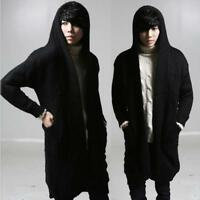 Mens Long Cardigan Hooded Sweater Cable Knit Jumper Coat Fleece Fur Lined Jacket
