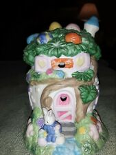 2 EASTER BUNNY VILLAGE HOUSES--from Hoppy Hollow 2002 Cute Bunny House w/Glitter