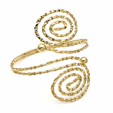 shiny gold cuff arm band bracelet stamped tribal coiled 29155