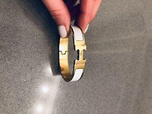 H Bracelet Clic Clac White Enamel Bangle