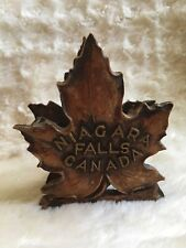 Vintage Durwood Niagra Falls Mapleleaf Durwood Trinket Holder Mantle Decor Wood