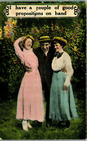 Couple of Good Propostions • two women and Man 1910's Vintage Postcard AA-004