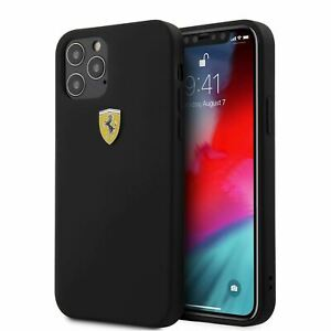 Ferrari® On Track TPU Sil Metal Logo Case for  iPhone 12/iPhone 12 Pro Black