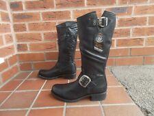 NEW ROCK Black Leather Calf High BIKER Boots * 4 uk * GOTH * PUNK * NEW