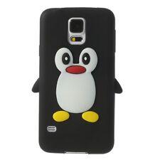 Samsung Galaxy S5 Neo Silikon Handy Tasche Pinguin Form 3D Cover Weich Schwarz