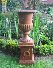 Amphore Kelch Vase auf Sockel, Podest, Blumentopf, Gusseisen, Louvre Set, 73cm