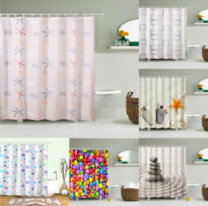 Modern Bathroom Shower Liner Curtains Waterproof Polyester Extra Long with Hooks