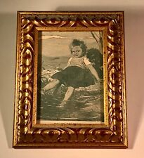 "Framed Victorian Book Plate from 1897 Book ""Comrades at Play"" Girl with Dog"
