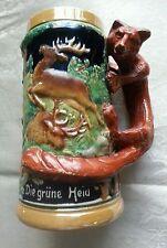 Vintage German Beer Stein Forest Hunting Scene Stags Boars Fox Handle