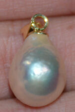baroque 14X11 mm natural 14k gold  pearl south sea pendant 36#