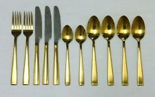 Cambridge Carmela Gold Plated Stainless Steel Flatware 11 Pcs Partial Set Extras