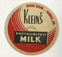 Vintage Milk Bottle Cap Klein's Dairy Farrell PA Pennsylvania Pasteurized Red