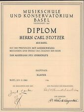 Felix WEINGARTNER (Conductor): Signed 1934 Diploma of the Basel Musikschule