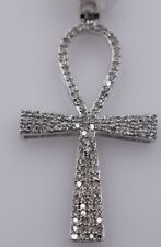 10K White Gold & Diamond Onc Cross Pendant .37ctw