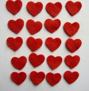 20 X RED FELT HEART DIE CUT SHAPES APPLIQUE CARD SEWING DECORATION