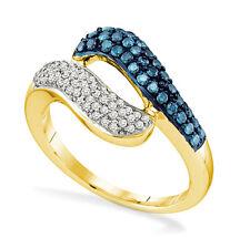 10k Oro Amarillo Azul y Blanco Anillo con Diamante .33ct Abierto Retorcido