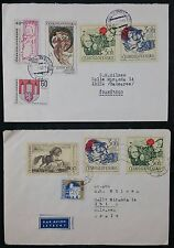 Pair of Czechoslovakia 1969 Multistamp Covers, One Airmail, to Spain